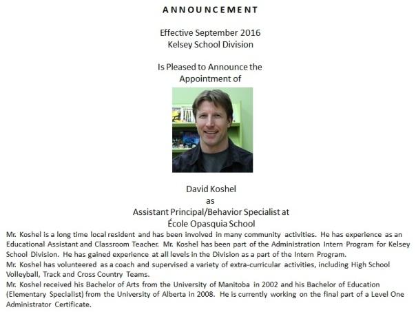 koshel announcement